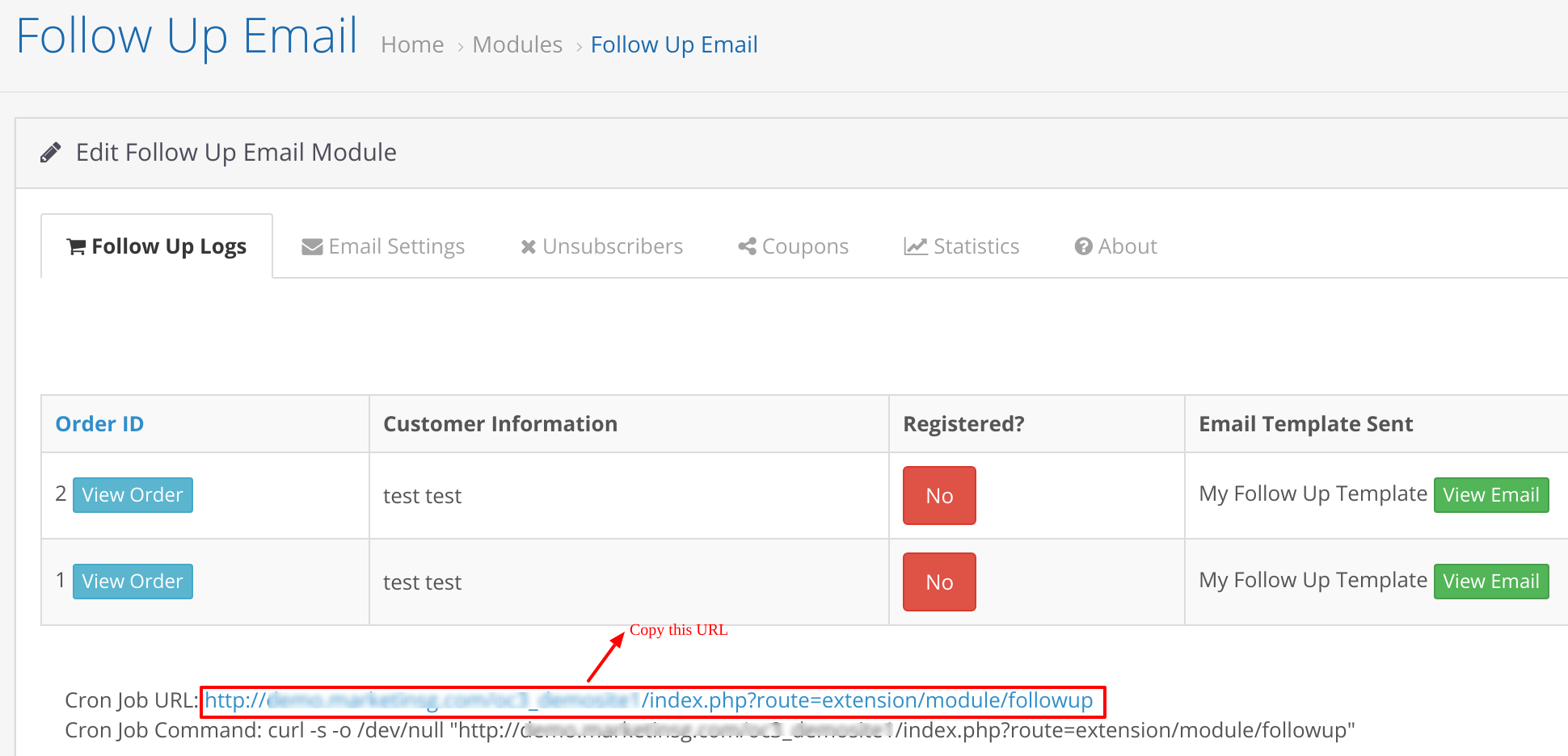 how to set up cron job for opencart follow up email