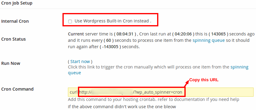 How to set up cron job for Wordpress Auto Spinner - Articles